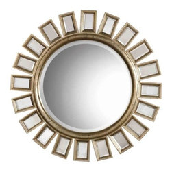 Uttermost - Cyrus Mirror by Uttermost - The Uttermost Cyrus Mirror refreshes you with its unconventional yet soothing pattern that adds flamboyance and intensity to your interior. The Cyrus Mirror features a round beveled mirror accented by several individual beveled mirrors and a wood frame with a Distressed Silver Leaf finish. Since 1975, Uttermost has made it their mission to make great home accessories at a reasonable price. From their headquarters in Rocky Mount, Virginia, Uttermost continues to meet this goal with sophistication and grace through their current line of quality, designer-driven lighting, home furnishings and accessories.