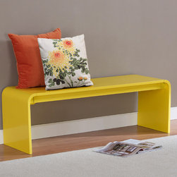 None - Contemporary Lemon Yellow Wood Bench - This sleek bench makes a wonderful addition to any modern decor. This bench features a rounded,minimalist design in an eye-catching lemon yellow hue.