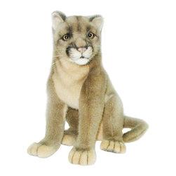 Hansa - Hansa Plush Mountain Lion Cougar - Hansa Mountain Lion Cougar is made of brown plush. Ages 3 and up. Airbrushed for detail.