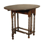 Kathy Kuo Home - Barley Sugar Twist Drop Leaf Gate Leg Console Dining Table - Traditional with a twist — literally! This solid oak table has delightfully twirled legs and an expandable dropleaf to make your small dining space a study in elegant comfort.
