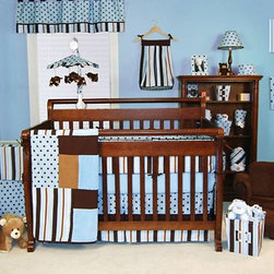 Trend Lab Max 4 Piece Crib Bedding Set - The Trend Lab Max 4-Piece Crib Bedding Set is a bright and colorful bedding set. With a fun blue-and-brown combination in a variety of patterns, this set includes the coverlet, bumper, sheet, and skirt. All fabric items are machine-washable. This set coordinates with other pieces of the Max collection.Additional features:Crib coverlet has cotton front and sherpa fleece backCrib coverlet has patchwork-style front with patches of blue with brown polka dots, blue and brown stripes, solid blue, and solid brownSkirt is made of blue cotton with brown polka dots and ultrasuede trim over blue and brown stripe accentSheet is solid blue cottonSlip-cover bumpers are blue and brown stripes with accents of brown ultrasuede and blue with brown polka dotsTrend Lab offers quality, trend-right products that appeal to most parents. Even the name of the company expresses its commitment to market trends and emerging technology. To ensure you get only the best products, Trend Lab uses fine materials and closely monitors the quality. With extensive experience in product development, raw materials sourcing, and manufacturing, Trend Lab is able to deliver trendsetting products to the market.The extensive line of products includes crib bedding, bumpers, accent items, gift items, gift sets, diaper bags, and more. With all the coordinating pieces, you can make your nursery both comfortable and visually appealing.