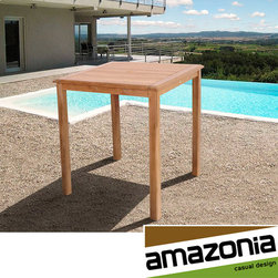 Amazonia - Hartford Teak Bar Table - This light brown table is composed of solid teak wood. This weather resistant patio furniture is suitable to be left outdoors all year round with proper maintenance.