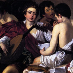 """Caravaggio  The Musicians - 18"""" x 24"""" Premium Archival Print - 18"""" x 24"""" Caravaggio  The Musicians premium archival print reproduced to meet museum quality standards. Our museum quality archival prints are produced using high-precision print technology for a more accurate reproduction printed on high quality, heavyweight matte presentation paper with fade-resistant, archival inks. Our progressive business model allows us to offer works of art to you at the best wholesale pricing, significantly less than art gallery prices, affordable to all. This line of artwork is produced with extra white border space (if you choose to have it framed, for your framer to work with to frame properly or utilize a larger mat and/or frame).  We present a comprehensive collection of exceptional art reproductions byCaravaggio ."""