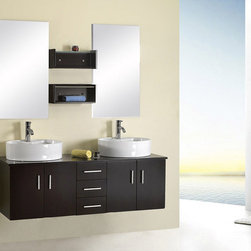 Kokols - Kokols 59-inch Bathroom Double Sink Vanity with Mirror and Faucets - This Modern Design bathroom double vanity features wood cabinets with mirrors and faucets. This set is the perfect inclusion for your next remodeling project.
