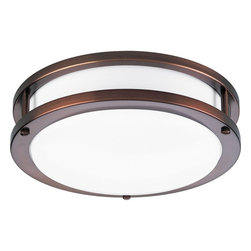 Progress Lighting - Progress Lighting Contemporary Flush Mount Ceiling Light X-BWBE471-9427P - For a rustic or antique look, the Progress Lighting Contemporary flush mount ceiling light is a fitting choice. It features a layered round frame in an urban bronze finish that enclosed the white acrylic glass shade. The ceiling light casts a wide-ranging lighting for additional shine to the room. It is a sufficient brightness for daily activities or gathering.