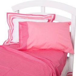 One Grace Place - One Grace Place Simplicity Full Sheet Set in Hot Pink - Provide a feminine and cozy haven for your baby with the Simplicity Hot Pink collection. Beautiful hues of pink with white throughout make this set adorable and bright.