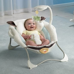 Fisher-Price My Little Lamb Infant Seat - New parents take our word for it: nothing makes parenting easier than a quality comfortable infant seat and the Fisher-Price My Little Lamb Infant Seat delivers. Vibrations calm even the fussiest of babies who will love to stare at themselves in the mirror overhead. Your baby may display her first signs of eye-hand coordination by batting the toy lamb which jingles as a reward. Cuddly fabrics contour to baby's head neck and sides so she doesn't slump over. Best of all you'll have your hands free again! This lightweight seat also folds flat for portability so you can take it along to Grandma's or haul it to the bathroom so you can finally shower.Additional Features for Baby: Soothing music helps calm baby and promotes a sense of securitySeeing baby's own reflection in the mirrored dome encourages self-recognitionPlush fabric feels just like lamb's wool to delight baby's tactile sense and provide a sense of comfortable securityEight songs strengthen baby's auditory skillsDangling lamb toy for baby to bat around improves eye-hand coordinationVibrating seat calms even fussy infantsAdditional Features for Mom and Dad:Seat has adorable lamb ears and a safety harnessMachine washable padToy arm easily pops out for access to babyFolds flat so you can take it anywhere your baby might need to sit& so everywhere!Choose music vibrations or bothBattery operated - requires 3 C batteries (not included)Weight capacity: 25 lbs.Developmental Guidelines:Use from birth until baby is able to sit upright unassisted.About Fisher-PriceAs the most trusted name in quality toys Fisher-Price has been helping to make childhood special for generations of kids. While they're still loved for their classics their employees' talent energy and ideas have helped them keep pace with the interests and needs of today's families. Now they add innovative learning toys toys based on popular preschool characters award-winning baby gear and numerous licensed children's products to the list of Fisher-Price favorites.