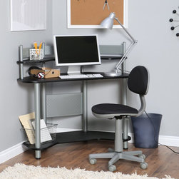 Calico Designs - Studio Designs Study Corner Desk - Silver/Black - 55123 SILVER/BLACK - Shop for Childrens Desks from Hayneedle.com! Super sleek and a touch modern the Studio Designs Study Corner Desk - Silver/Black is perfect for the computer-savvy student. Built from durable metal and laminate this chic corner desk is ideal for their bedroom. The space-saving design is super convenient for tight spaces or those already claimed by the clutter of teens and tweens. With upper and lower shelves for storage plus a main area for a laptop notebooks or other supplies that suit their interests this desk provides a place all their own to encourage productivity and focus. Let them personalize the space with fun baubles and added storage (sold separately). Chair not included.About Calico DesignsFounded in 1985 under the name Studio RTA Calico Designs began producing affordably priced drafting tables and other pieces for use by artists and designers. They have since evolved and expanded their product offerings to include art sets easels craft tables and kids desks. Small-space compatibility is a top priority of the Company as are features that provide durability stability and the latest styles all while offering outstanding value. Calico looks forward to the future and to producing progressively innovative designs.