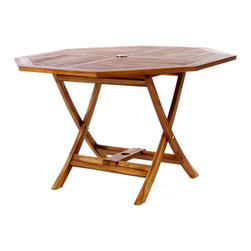 All Things Cedar - Teak Octagon Paito Table - Our Tables constructed of solid Teak using mortise and tennon joinery. The table is offered in a 48 inch round or octagon shape and has 1-7/8 inch umbrella hole with lower pole Stabilizer Bar. Brass pole grommet and cap included. Item is made to order.