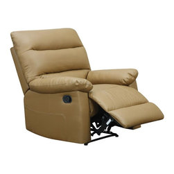 Lifestyle Solutions - Preston Recliner - Easy recline. Camel faux leather. Side knob for lowering seat back and pull lever for foot rest extension. No assembly required. Durable construction. Clean with damp cloth. 40.6 in. L x 38 in. W x 35 in. H (73.7 lbs)The Preston Recliner has a timeless, more modern style. The recliner reclines for the highest level of comfort for sitting or reclining and is a perfect addition to any room.