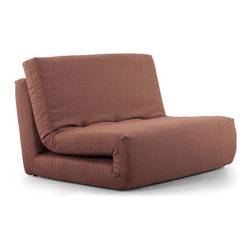 """ZUO - Polygon Sleeper Chair - Mocha Brown - Folds into a chair or unfolds into a bed. The Polygon Sleeper Chair is a solid answer to the """"where do I put my brother-in-law"""" question. Comes in mandarin orange, mineral gray, or mocha brown."""