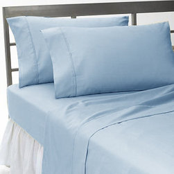 SCALA - 300TC Solid Blue Full Flat Sheet & 2 Pillowcases - Redefine your everyday elegance with these luxuriously super soft Flat Sheet . This is 100% Egyptian Cotton Superior quality Flat Sheet that are truly worthy of a classy and elegant look.
