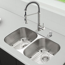"""Vigo - All in One 32"""" Undermount Stainless Steel Kitchen Sink and Faucet Set - Breathe new life into your kitchen with a VIGO All in One Kitchen Set featuring a 32"""" Undermount kitchen sink, faucet, soap dispenser, matching bottom grids, and strainers.; The VGR3218BL double bowl sink is manufactured with 18 gauge premium 304 Series stainless steel construction with commercial grade premium satin finish; Fully undercoated and padded with a unique multi layer sound eliminating technology, which also prevents condensation.; All VIGO kitchen sinks are warranted against rust; Exterior Measures: 32 1/4""""W x 18 1/2""""D; Each bowl's interior dimensions: 14 5/8""""W x 16 1/2""""D; Bowl depth: 9"""" (larger bowl) and 5"""" (smaller bowl); Required interior cabinet space: 35""""; Kitchen sink is cUPC and NSF-61 certified by IAPMO; All mounting hardware and cutout template provided for 1/8"""" reveal or flush installation; The VG02001ST Kitchen faucet features a dual function spiral pull-out spray head for aerated flow or powerful spray, and is made of solid brass with a stainless steel finish.; Includes a spray face that resists mineral buildup and is easy-to-clean; High-quality ceramic disc cartridge; Retractable 360-degree swivel spout expandable up to 30""""; Single lever water and temperature control; All mounting hardware and hot/cold waterlines are included; Water pressure tested for industry standard, 2.2 GPM Flow Rate; Standard US plumbing 3/8"""" connections; Faucet height: 18 1/2""""; Spout reach: 9 1/2""""; Kitchen faucet is cUPC, NSF-61, and AB1953 certified by IAPMO.; Faucet is ADA Compliant; 2-hole installation with soap dispenser; Soap dispenser is solid brass with an elegant stainless steel finish and fits 1 1/2"""" opening with a 3 1/2"""" spout projection.; Matching bottom grids are chrome-plated stainless steel with vinyl feet and protective bumpers.; Sink strainers are made of durable solid brass in chrome finish; All VIGO kitchen sinks and faucets have a Limited Lifetime Warranty"""