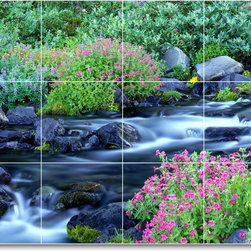 Picture-Tiles, LLC - River Picture Kitchen Tile Mural R051 - * MURAL SIZE: 18x24 inch tile mural using (12) 6x6 ceramic tiles-satin finish.