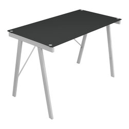 LumiSource - Exponent Black Office Desk/ Drafting Table - Use this desk for your computer work or as a drafting table. With its metal frame and tempered glass top, it is sure to be sturdy enough for any work that you do on it.
