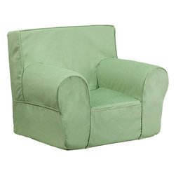 Flash Furniture - Small Solid Green Kids Chair - This comfy foam chair is a fun piece of furniture for children to enjoy for reading and relaxing. The lightweight design with carrying handle will allow this chair to be toted in several locations. The slipcover can be removed for cleaning or spot cleaned upon accidents.