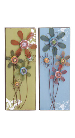 Benzara - Classic Lovely Floral Themed Assorted Set of Two Wall Panel Home Decor - Classic and contemporary inspired lovely floral themed assorted set of two wall panel living room home accent decor
