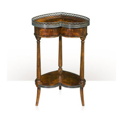 Theodore Alexander - Double Hearts Lamp Table - A flame mahogany veneer and solid acacia lamp table, the heart shaped top with a pierced patinated brass gallery above a plain frieze, on turned club legs joined by a brass bound undertier, on splayed feet. The original Louis XVI.