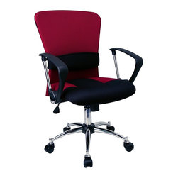 Flash Furniture - Mid-Back Chair w Padded Seat and Chrome Finis - All the correct contours are fused with contemporary style on this mid-back office chair. It has a comfortable mesh back with vibrant red finish. Multiple controls are at your fingertips - adjustable height, locking tilt and more. Also has steel base with wheels. Red mesh back. Comfortable padded seat with coordinating Burgundy mesh fabric accents. Adjustable lumbar support. Fixed polyurethane arms with chrome finished accents. Locking tilt control. Tension control. Pneumatic gas lift. Durable metal base. Dual wheel casters. Seat: 19¾ in. W x 18½ in. D. Seat Height: 18½ in. - 22½ in. H. Arm Height: 8¼ in. H From Seat; 27 in. H From Floor. Back: 20½ in. W x 20¼ in. H. Overall: 23¾ in. W x 24 in. D x 38¼ in.  - 42¼ in. H