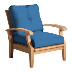 Douglas Nance - Set of 2, Douglas Nance Cayman Deep Seating Club Chairs, Capri - Douglas Nance Cayman has a distinctive casual flair with sumptuous cushions for premium relaxation. The cuts of teak are thick and solid yet the design curves offer a light, island feel. This collection also offers a loveseat and dining options. Includes made-to-order Sunbrella cushion.