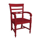 EuroLux Home - Red Painted Armchair With Hardwood Arms - Product Details
