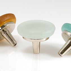 """SpectraDecor - Castaway Recycled Glass Knobs - Recycled glass 1.5"""" knobs shown in Sunshine, Teal and Mineral Water glass colors. Bright Nickel metal finish bases. Also available with Rustic Bronze metal finish. Made in USA."""