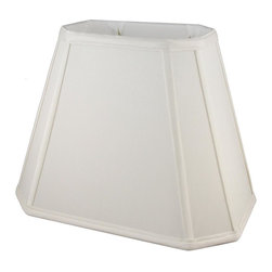 American Heritage Shades - Fabric Lampshade in Cream (18 in. Diam x 14 in. H) - Choose Size: 18 in. Diam x 14 in. HLampshade Types. Shantung faux silk with off-white fabric liner. Hand made. Matching top, bottom and vertical trim. Corner cut rectangle shape. Fitter type: 1 in. drop and washer for harp fitter. Enhances lamp and room decor. Made from polyester. Fitter in brass color. Made in USA. No assembly required