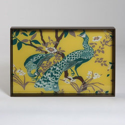 Peacock Tray - What cocktail table wouldn't look great with this peacock tray of yellow and teal?