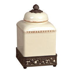 "GG Collection - GG Collection 12"" Acanthus Canister - Canister, Original Acanthus Leaf, Cream Ceramic w/Brown Metal Base, Small, 7in x 7in x 12in H, Care: Ceramic is dishwasher safe, but recommend hand washing metal in mild soap and dry with a soft cloth"