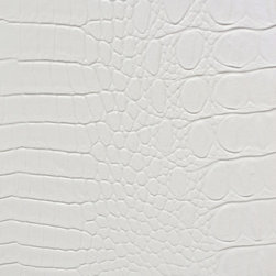 Allie Upholstery Fabric, White - Vinyl pattern suggests an alligator hide and is suitable for upholstery, cornice/headboards, and other decorative uses.