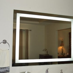 Wall Mounted Lighted Vanity Mirror LED - 5 YEAR Warranty - LED Lighting, will last a lifetime, Green Product - 1/2 cent per hour to burn, Perfect Lighting for Make Up and Hair..