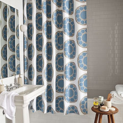 Wood-Block Flower Shower Curtain - Grand-scale woodblock flowers add a bold, fanciful flourish to the bath.