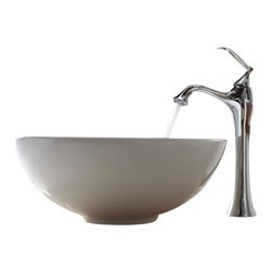 Kraus - Kraus White Round Ceramic Sink and Ventus Faucet - Add a touch of elegance to your bathroom with a ceramic sink combo from Kraus