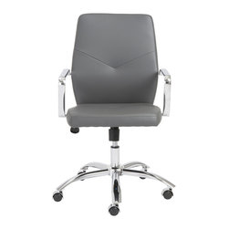 Euro Style - Euro Style Napoleon Low Back Office Chair 01292GRY - Napoleon said 'an army marches on its stomach' citing the strength of good nutrition in the field of battle. In an office, we say 'the army works on very comfortable chairs'. Napoleon office chairs, high back and low. Arm your staff with these bold and sturdy chairs and discover how comfort conquers all.