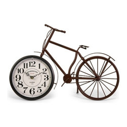 """IMAX - Higdon Bicycle Clock - Unique and fun bike clock, made with a rustic finish Item Dimensions: (12.75""""h x 19.5""""w x 3"""")"""