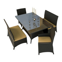 Forever Patio - Hampton 5 Piece Wicker Patio Dining Set, Chocolate Wicker and Wheat Cushions - The Forever Patio Hampton 5 Piece Patio Wicker Dining Set with Gold Sunbrella cushions (SKU FP-HAM-5DN-CH-WM) creates the perfect contemporary look for dining on your patio or deck. The set seats 6 adults comfortably, and includes 2 dining benches, 2 dining armchairs and a dining table with a glass top. This set features Chocolate resin wicker, which is made from High-Density Polyethylene (HDPE) for outdoor use. Each strand of this outdoor wicker is infused with the rich color and UV-inhibitors that prevent cracking, chipping and fading ordinarily caused by sunlight, surpassing the quality of natural rattan. This patio dining set is supported by thick-gauged, powder-coated aluminum frames that make it extremely durable and resistant to corrosion. Also included are fade- and mildew-resistant Sunbrella cushions. Backed by its quality construction and highly modern design, this modern outdoor dining set will keep your patio looking great for years.