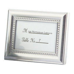 "Handcrafted Model Ships - Chrome Beaded Photo Frame and Placecard Holder 4"" - Placecard Holder - Picture this bit of elegance enhancing each place setting at your resplendent event! Fill the gleaming metal frame with a place card or a favorite photo. When they take this lovely favor home, your happy guests will fill the frame with a favorite photo of their own."