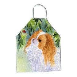 Caroline's Treasures - Japanese Chin Apron SS8260APRON - Apron, Bib Style, 27 in H x 31 in W; 100 percent  Ultra Spun Poly, White, braided nylon tie straps, sewn cloth neckband. These bib style aprons are not just for cooking - they are also great for cleaning, gardening, art projects, and other activities, too!