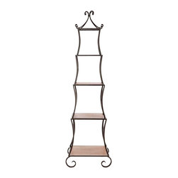 Safavieh - Safavieh Jiles Etagere X-A6456HMA - A whimsical piece inspired by a French topiary trellis, the Jiles Etagere lends a sunny garden air to the dining room, kitchen or living room. Crafted of fir wood shelves and peter frame, it's ideal for storing pieces and china, as well as books and curios.