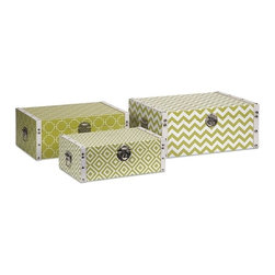"""IMAX CORPORATION - Essentials Storage Boxes - Green - With the bright color and bold patterns which define the Green Apple collection from Essentials by Connie Post, these decorative boxes are a brilliant storage solution to declutter your room. Set of 3 boxes in varying sizes measuring approximately 5-6.25-7.25""""H x 13.75-15.75-17.75""""W x 8.25-10.25-12.25"""" each. Shop home furnishings, decor, and accessories from Posh Urban Furnishings. Beautiful, stylish furniture and decor that will brighten your home instantly. Shop modern, traditional, vintage, and world designs."""