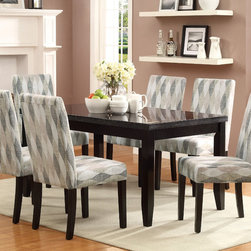 Coaster - Newbridge 7Pcs Dining Set, Swivel Pattern - The table carries a deep cappuccino finish and features tapered legs as well as a faux marble top. Accompanied are six matching side chairs. Upholstered in a neutral metal or a neutral taupe tone, both the seat and seat back foster total comfort. The chair is lifted on tapered legs finished in a dark cappuccino, and the seat back curves gently outward for a sense of shape and movement.