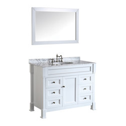 Bosconi - 43'' Bosconi SB-278WH Vanity Set - The quality is evedent in this chic and durable Bosconi vanity. The glossy white finish, accompanied by an elegant White Cararra Marble top adds a modernistic touch to your bathroom design. It features six soft closing drawers and a singular middle cabinet providing space for all of your bathroom accessories. The perfectly suited mirror completes the set which will create a refined look in any bathroom. .