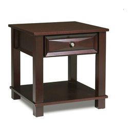 Steve Silver - Steve Silver Mason 24 Inch Square End Table in Dark Cherry - The Mason End Table has a dark cherry finish and classic design that merges seamlessly into any living room. The cocktail, sofa, and end table collection give you a complete living room solution. What's included: End Table (1).