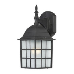 Nuvo Lighting - Nuvo Lighting 60/4906 Adams Single-Light Wall Lantern, Finished in Textured Blac - Nuvo Lighting 60/4906 Adams Single-Light Wall Lantern, Finished in Textured Black with Frosted Glass PanelsNuvo Lighting 60/4906 Features: