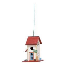 None - Wooden Open Sign Birdhouse - Give your feathered friends a place of their very own with this charming hanging birdhouse. With a bright red roof and whimsical 'Open' sign, this birdhouse is as stylish as it is functional for any backyard or garden setting.