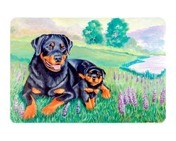 Caroline's Treasures - Rottweiler Kitchen Or Bath Mat 20X30 - Kitchen or Bath COMFORT FLOOR MAT This mat is 20 inch by 30 inch.  Comfort Mat / Carpet / Rug that is Made and Printed in the USA. A foam cushion is attached to the bottom of the mat for comfort when standing. The mat has been permenantly dyed for moderate traffic. Durable and fade resistant. The back of the mat is rubber backed to keep the mat from slipping on a smooth floor. Use pressure and water from garden hose or power washer to clean the mat.  Vacuuming only with the hard wood floor setting, as to not pull up the knap of the felt.   Avoid soap or cleaner that produces suds when cleaning.  It will be difficult to get the suds out of the mat.