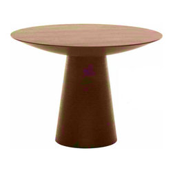 "Nuevo Living - Dania Small Tan Walnut Dining Table by Nuevo - HGEM252 - The Dania Dining Table is crafted with American Oak veneer and MDF core construction.  The table is finished in an Ebony stain that is really a very, very dark brown. The base of the table features a horizontal ribbed design; see the ""detail view"" for a close up of this beautiful aspect. The table is available in three sizes from a 40"" diameter table top and a prodigious 61"" diameter table top."