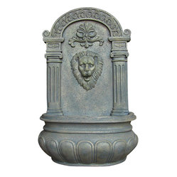 Imperial Lion Outdoor Solar Wall Fountain, French Limestone