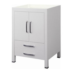 Decolav - Cameron 24 in. Vanity without top in White - Manufacturer SKU: 5221-WHT. Part of the Cameron modular collection. Solid wood legs and frame. Soft closing door hinges and drawer slides. Includes lower drawer. Satin nickel hardware and brushed stainless steel toe caps. Coordinating countertop and lavatory not included. 21 in. L x 24 in. W x 35.25 in. H. Installation InstructionsDECOLAV's Cameron Vanity has double front doors and a deep lower drawer. Soft closing door hinges and drawer slides allows for a smooth secure close. The strong, clean lines of the Cameron Collection creates a striking statement that is sure to win you over. Its bold presence, with understanding detailing provides the perfect compliment to your modern-contemporary bathroom design.