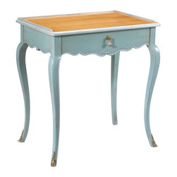Kathy Kuo Home - Sade French Country Cherry Wood Light Blue Side End Table - This petite, French Country piece makes a grand, stylish statement in a small amount of space. With one dainty drawer, it's an artistic accent next to a favorite reading chair, a nightstand in the bedroom or a display table beside the sofa. Light blue cabriole legs are delicately detailed, rising to the cherry- finished tabletop.